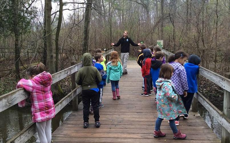 Students celebrating Earth Day at the Stoney Creek Metropark